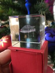 3d Laser Etched Cherub Crystal Glass Cubes Piano Paperweight