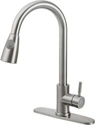 Kitchen Faucet Stainless Steel Sink Tap Single Handle Brushed Pull Out Sprayer