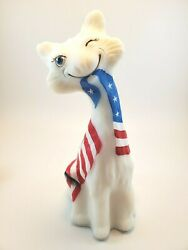 Fenton Patriotic Alley Cat Made for the FAGCA 2020 Hand Painted by CC Hardman