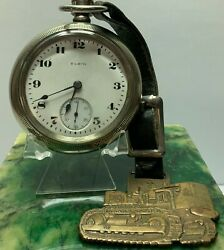 Elgin Pocket Watch 18s Swing Out Case And Fob Chalmers Tractor