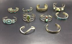 Collection Of 10 Navajo Native American Sterling Silver Turquoise Cuff Bracelets