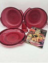 Tupperware Tupperwave Stack Cooker System Microwave 4 Piece Set And Cookbook