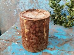 Antique Tin Can Old Canister With Lid Rusty Metal Vintage Industrial Decor