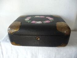 Antique Big, Heavy And Rare Embossed Leather Box With Enamel Painted Roses
