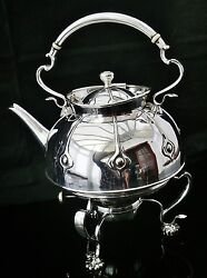 Arts And Crafts Scottish Silver Plate Spirit Kettle Dykes Brothers C.1905