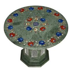 30'' Antique Green Marble Coffee Table Top Inlay Round Pietra Dura With Stand