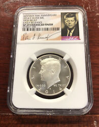 2014-s 50c Kennedy Silver High Relief Ngc Sp69 Enhanced Finish