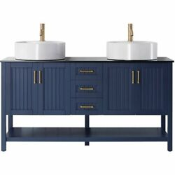Vinnova Modena 60 Glass Top Double Vanity With Sink In Royal Blue