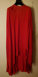 New Valentino Round Neck Silk Crepe Dress Rosso Red Size 2 Us 38 It Msrp 5850