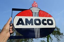 Old Style Amoco American Motor Oil And Gas Torch Vintage Type Steel Flange Sign