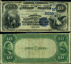 Steubenville Oh 10 1882 Db National Bank Note Ch 5039 Commercial Nb Fine+