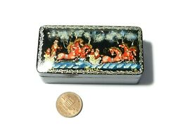 Vintage Russian Papier Mache Lacquered Box Hand Painted Horse Sleigh Scene