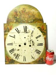 Stockton Napoleonic War Hand Painted Enamel Pictorial Long Case Clock Dial Only