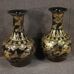 Pair Of Chinese Vase Oriental Cups Objects Antique Style Painted Ceramic 900