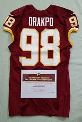 98 Brian Orakpo Of Redskins Nfl Game Worn And Unwashed Jersey Vs. 49ers Wcoa