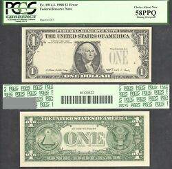 1 1988 Frn Missing Overprint Error Pcgs Choice About New 58ppq