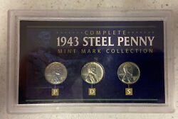 Complete 1943 Steel Penny Mint Mark P D S Collection 3 Coin Set Wartime