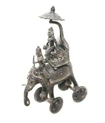 Antique Elephant Brass Rider Wheel Statue Engraved Indian Handcrafted Decorative