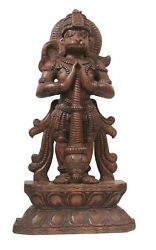 Lord Hanuman Statue Handcrafted Wood Hand Carved Hindu Religion South Indian Hom