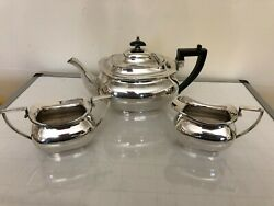 Heavy And Quality Silver Plated 3 Piece Tea Service On A Raised Foot W And H Gg1