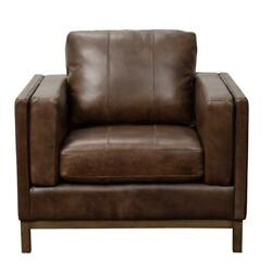 Home Fare Drake Leather Accent Chair With Wooden Base In Brown