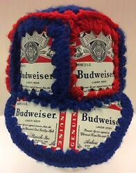 Chicago Cubs Budweiser Beer Aluminum Can Hat Crotchet Hand Knit Knitted Blue Red