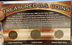 Treasured U.s. Coins Set - Indian Penny, Buffalo Nickel And Barber Silver Dime