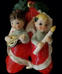 Vintage 1960s Napco Christmas Angels In Stockings Wall Decor