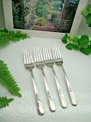 4 International Holmes And Edwards Youth Silverplate 7 5/8 Dinner Forks 1940