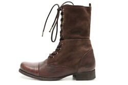 Womens Diesel Brown Distressed Leather Mid Calf Urban Lace Up Boots Size 36 M