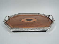 Victorian Tray - Antique Regency Tea Marquetry - English Sterling Silver Wood