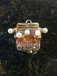 Vintage 14k Yellow Gold Pearl Ruby And Sapphire Typewriter Movable Charm