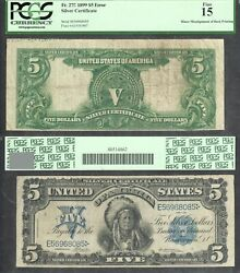 5 1899 Silver Certificate Large Size Error Faulty Alignment Pcgs Fine 15