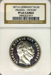 German States Prussia 1871 A Taler Coin Thaler Ngc Pf 64 Cameo Proof Pp Victory