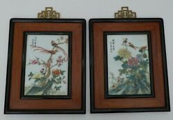 Pair Porcelain Plaques Chinese Antique Famille Rose Framed Rose Wood Republic