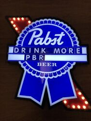 Pabst Blue Ribbon Motion Marquee Led Beer Bar Sign Man Cave