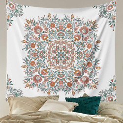 Mandala Flower Tapestry Wall Hanging Bohemian Hippie White Tapestry Sketched F