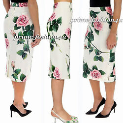 Dolce And Gabbana Stretch Crepe Midi Skirt With Floral Tropical Rose Print Sz 42