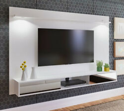 Entertainment Center Wall Unit White Gloss Floating Tv Stand Mounted Led Lights