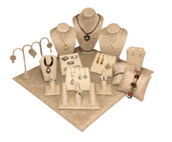 16pc Jewelry Display Stand Burlap Display Set Ring Earring Necklace Displays