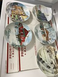 Euc Vintage Lot 5-pack Smucker's Collector's Christmas Plates 1990's Amish Farm