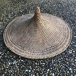 Vintage Vietnamese Asian Sun Rice Patty Bamboo Straw Conical Coolie Hat