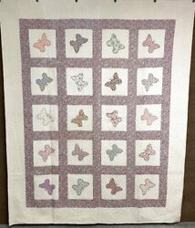 Feedsack C 1930s Butterfly Applique Vintage Quilt Xtra Large 104 X 84