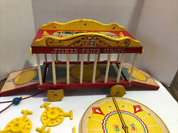 Vintage 1964 Fisher Price Circus 900 Wagon Pull Toy W/extra Animals 38 Pieces