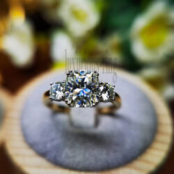 Cushion Cut 2.00 Ct Near White Moissanite 3 Stone Engagement Ring 10k Solid Gold