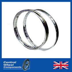 Stainless Rims - 19 X 1.60 36 Wm1 Bsa D1 And D3 Bantam Hub - Front And Rear
