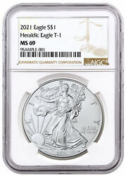 2021 American Silver Eagle T-1 Ngc Ms69 Brown Label