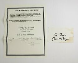 Ronald Reagan / George H.w. Bush Dual Signed Autographed 3x5 Index Card With Coa