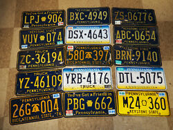 Lot Of 15 Vintage 70s 80s 90s License Plates Pennsylvania Pa Truck Bicentennial