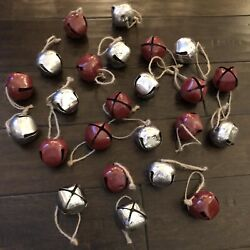 """24 Large Jingle Bell Ornaments With Hangers Red And Silver 2"""""""